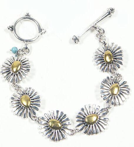 Gänseblümchen-Armband Blumen-Armband silber-gold 19 cm elegantes Damenarmband