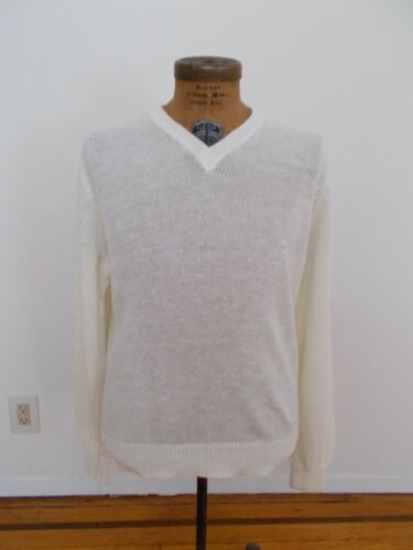 Inis Meain Ivory Pure Linen Large Men's V Neck Swe