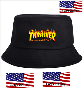 Image is loading Thrasher-Bucket-Hat-Skateboard-Magazine-Flames-Logo 961149c6e8e
