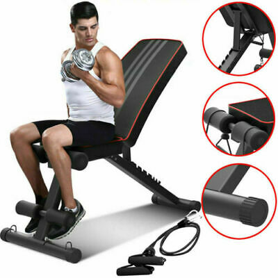 Adjustable Weight Bench Gym Workout Flat Incline Decline Sit Up Lifting Barbell