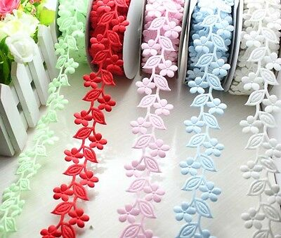 """20yard 1.2""""(30mm) 3D Floral Lace Polyester Ribbon party wedding Trim L2229-2234"""