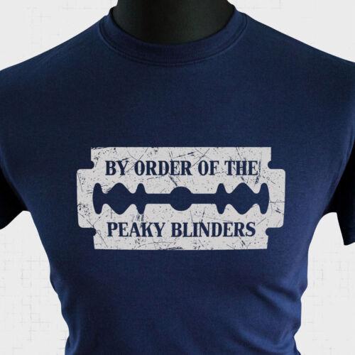 Peaky Blinders T Shirt à la Commande de Shelby Frères Rasoir Casquette TV Bleu