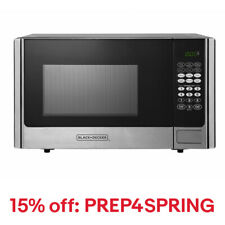 Black+Decker 900 Watt 0.9 Cubic Feet Counter Microwave Oven, Stainless Steel
