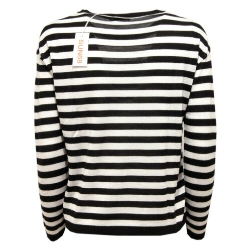 6638W maglione over donna SUN 68 black//ivory wool sweater woman