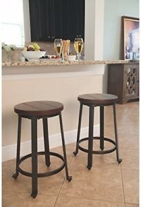Details about Small Space Bar Stools for 2 Rustic Brown Counter Height  Kitchen Island Stool