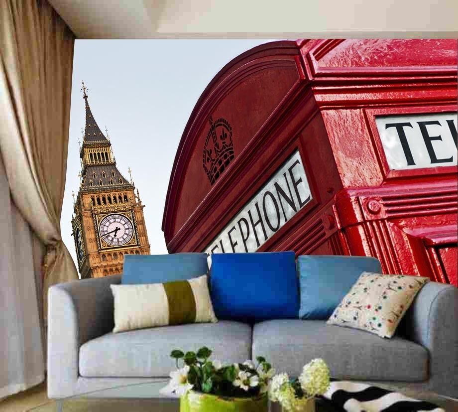3D Rote Telefonzelle Big Ben 8 Tapete Wandgemälde Tapete Tapeten Bild Familie DE | Zahlreiche In Vielfalt  | Spielzeugwelt, fröhlicher Ozean  | Modernes Design