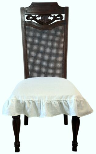 Linen Chair Seat Cover Slipcover with 3 sided Ruffle in Off White Large