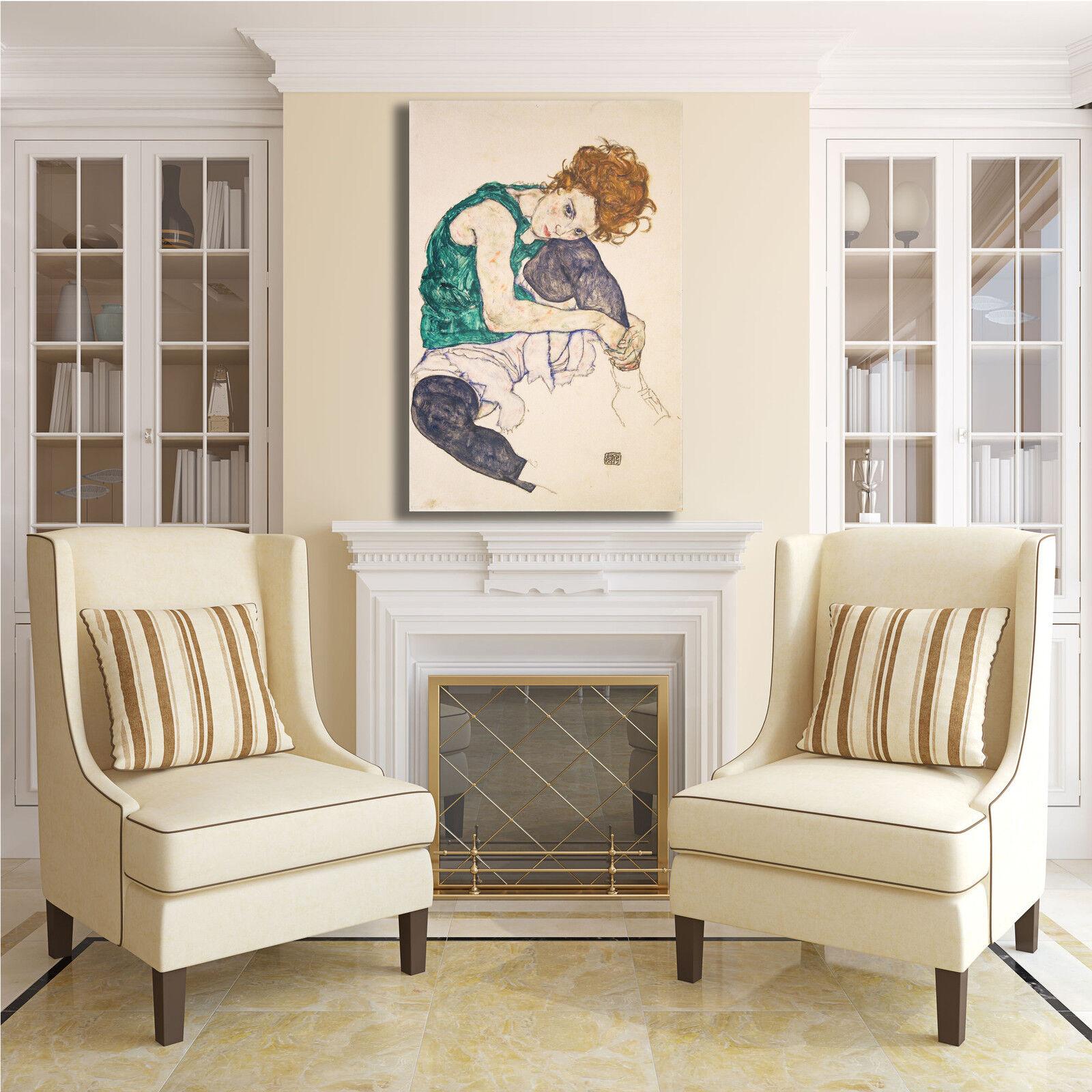 Schiele  a seduta design dipinto quadro stampa tela dipinto design telaio arRouge o casa b00190