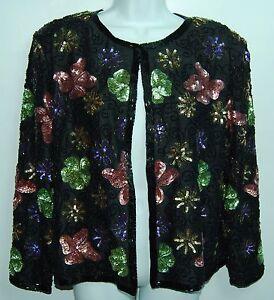 HEAVILY-BEADED-Multicolor-Floral-Fully-Lined-DESIGNER-Sample-VINTAGE-Jacket-L