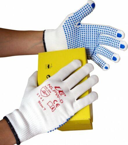 10 x UCI nlpw-D faible linting polyester doux sans soudure PVC en pointillé Gants