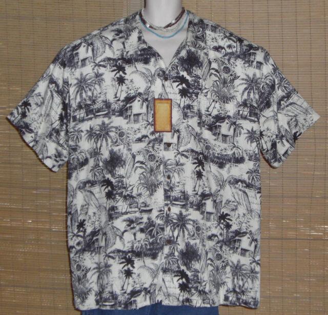 Caribbean Joe Hawaiian Shirt Black White Islands Rayon Size 3XL NWT