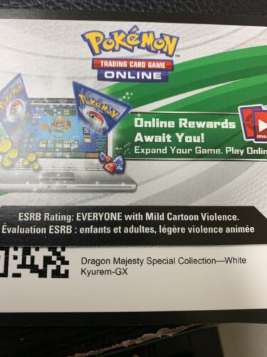 Pokemon Dragon Majesty Special Collection White Kyurem GX Code Card Messaged