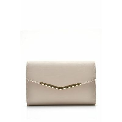 New Ruby & Kit Metal Edge Clutch Womens Nude Small by-Strandbags