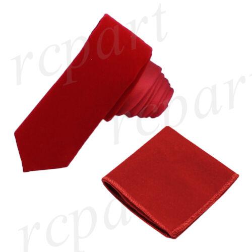 New Men/'s Brand Q Velvet Slim Necktie /& Hankie Set 2 Tone Formal Party red