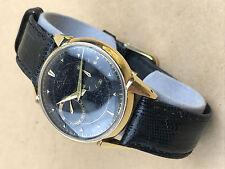 Jaeger LeCoultre Futurematic 1950s Vintage Black Face Watch 14k gold - Rare