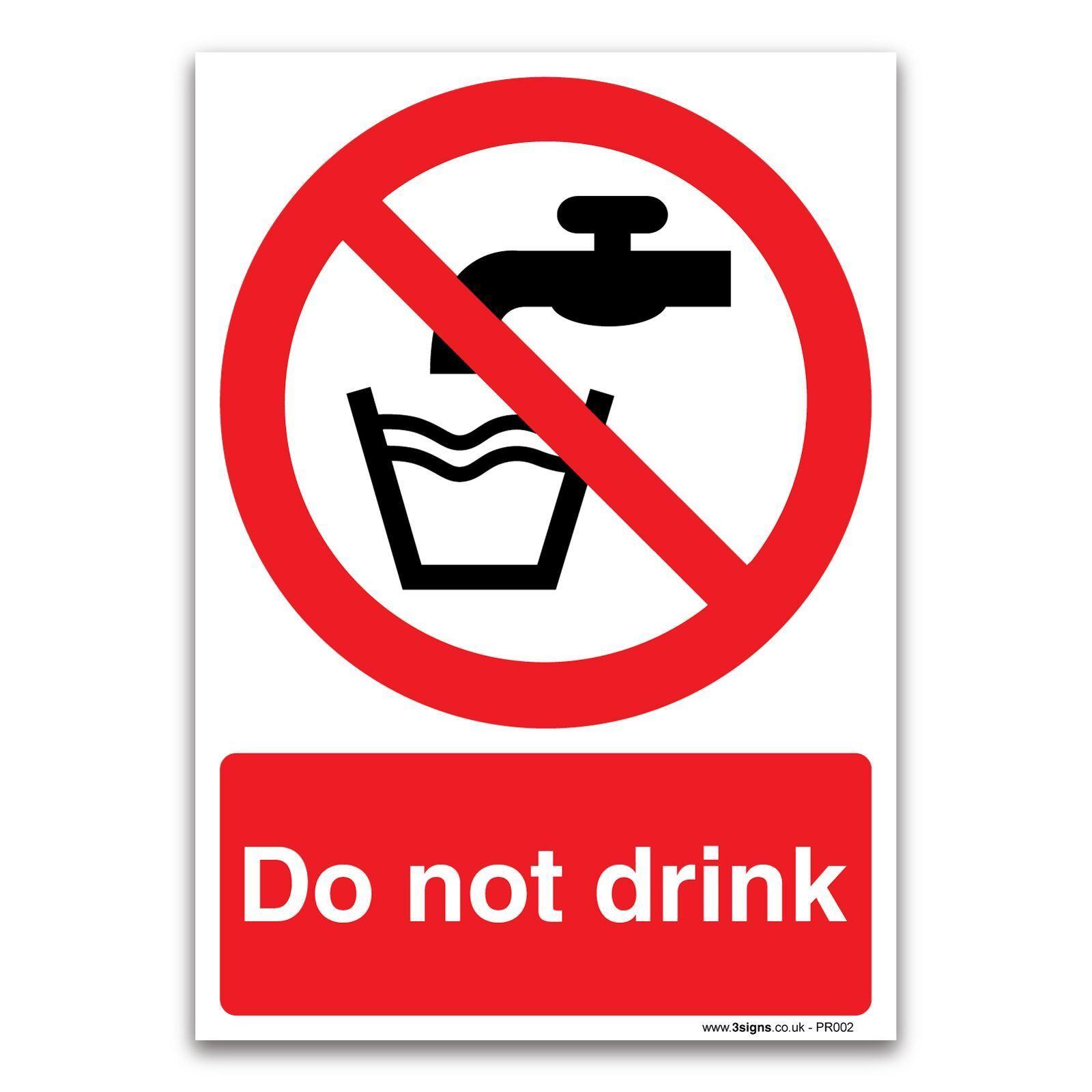 Non bere Divieto Di Di Di Sicurezza Segno-rigido in plastica o vinile adesivo 3902bb