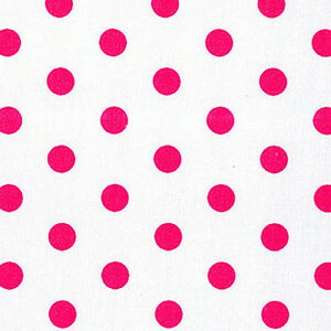COTTON-UPHOLSTERY-CURTAIN-APRON-FABRIC-11mm-CHERRY-PINK-POLKA-DOT-on-WHITE-44-039-W