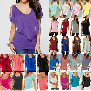 Plus-Size-Women-Summer-Cold-Shoulder-Tee-Tops-Short-Sleeve-Blouse-Casual-T-Shirt