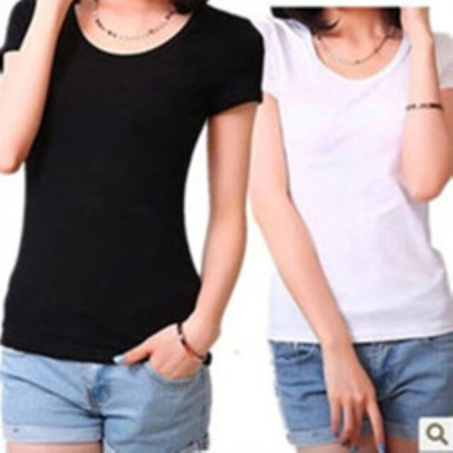 2017 Women Basic Plain Casual Cotton Short Sleeve Slim O-Neck Tee T-Shirt Tops