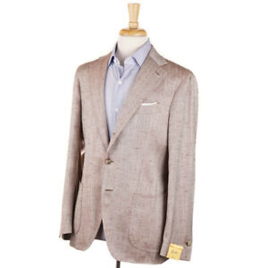 NWT-1525-G-ABO-NAPOLI-Brown-Herringbone-Silk-Sport-Coat-Slim-40-R-Gabo