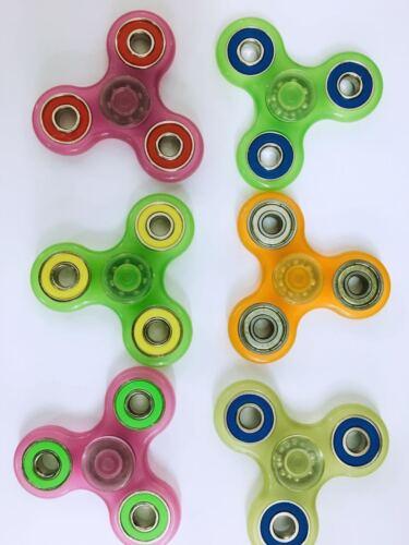6pc Lot Tri Spinner Fidget Glow in the Dark Stress Hand Desk Toy ADHD Autism USA