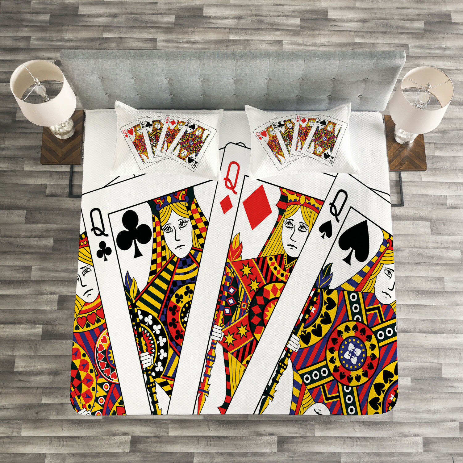 Casino Quilted Bedspread & Pillow Shams Set, Queens Poker Play Cards Print