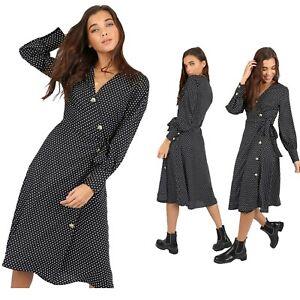 Women-039-s-Fashion-Black-Polka-Dot-Design-Side-Tie-Buttoned-V-Neck-Wrap-Midi-Dress