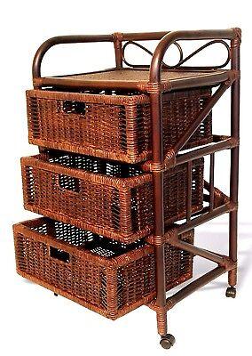 Vitex Handmade Rattan Wicker Drawer Chest Multipurpose Storage Unit w/Wheels