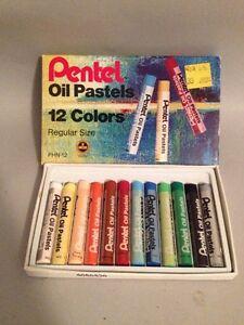 Vintage Set Of Oil Pastels Pentel 12 Colors! PHN-12!
