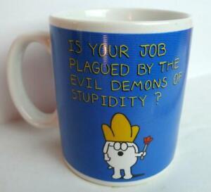 Dilbert-by-Scott-Adams-Dogbert-Coffee-Mug-Job-Plagued-Demons-Stupidity-Vintage