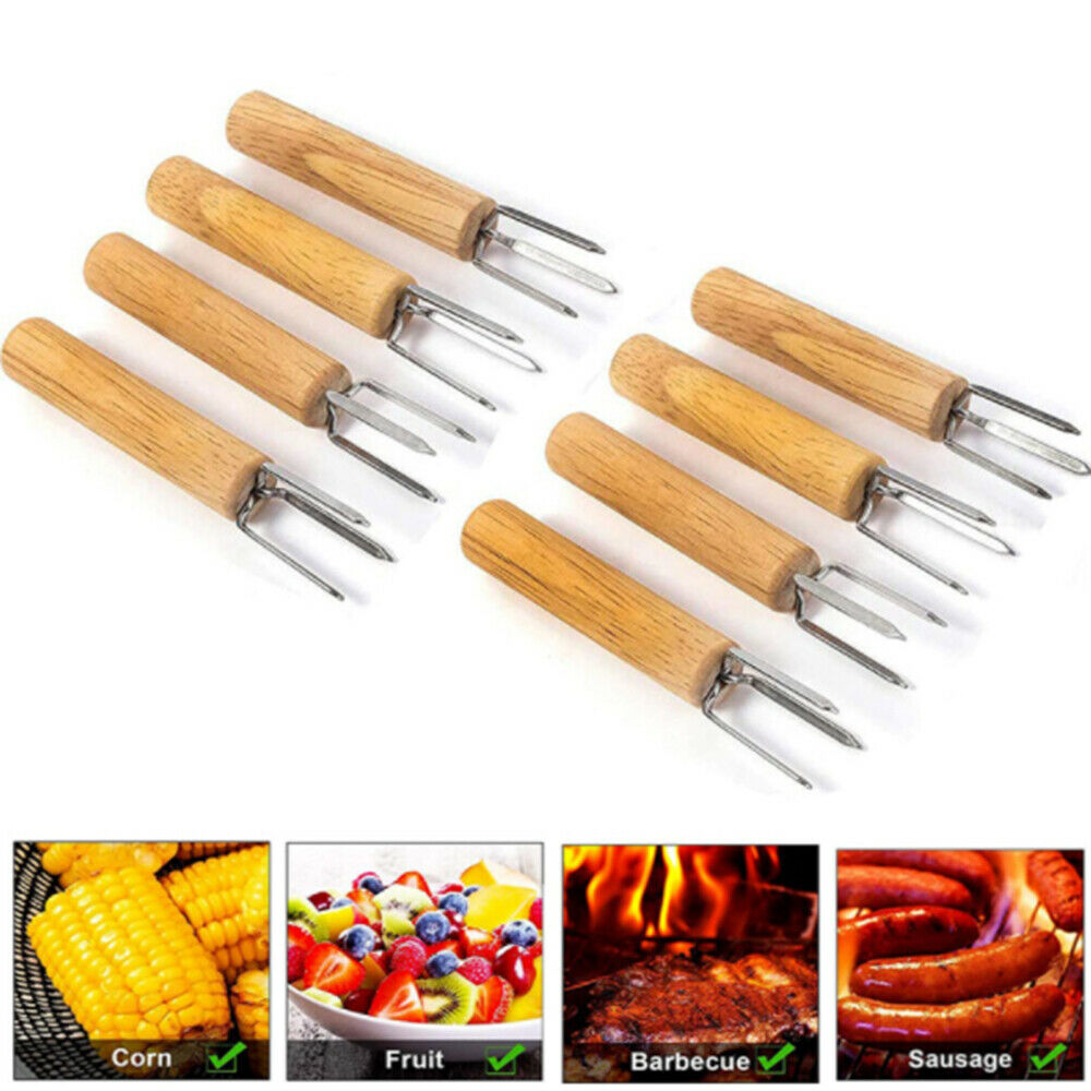 10 pcs Barbecue Corn Holder Stainless Steel BBQ Meat Forks with Wooden Handle