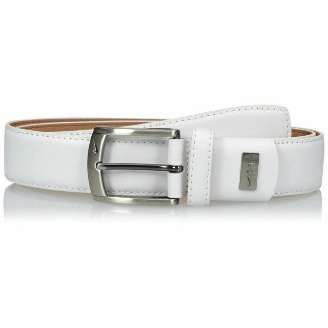 32 Nike Mens G-flex Pebble Grain Leather Belt White