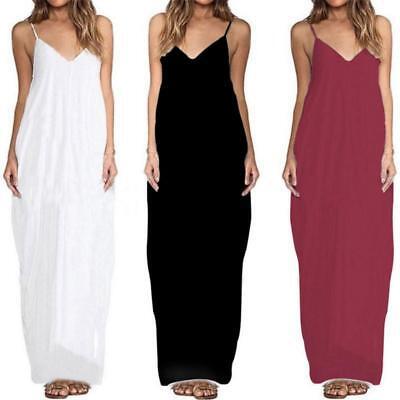Plus Size Womens Spaghetti Strap Dress Ladies Evening Party Long Maxi Dress  Q | eBay