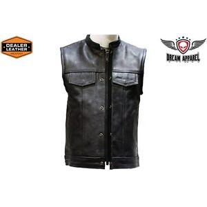 Men/'s Concealed Carry Premium Leather Club /& Biker Vest with Zipper Front