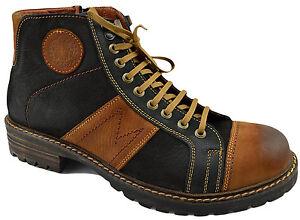 200-REACTOR-Noir-Marron-En-Cuir-Motard-Mode-Cheville-Bottes-Hommes-Chaussures