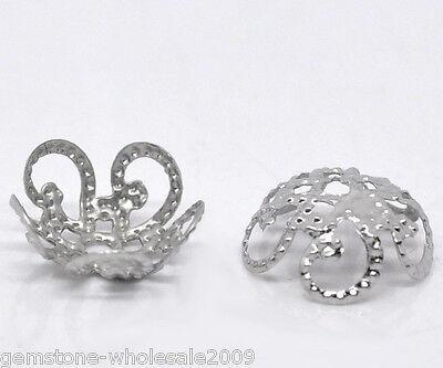 Wholesale 300-30000 W09 Lots Silver Tone Flower Bead Caps 6x2.8mm Findings GW
