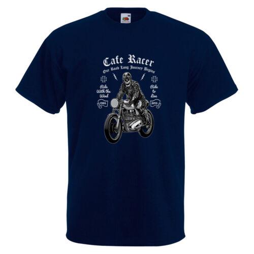 Biker Skull Illustration Homme T-shirt imprimé vélo Moto Rétro Course Racing