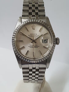 Vintage-Rolex-Datejust-Tiffany-Co-16030-Mens-SS-Quickset-Watch-For-Big-Man