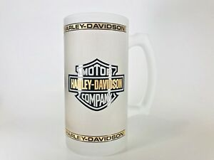 Harley-Davidson-Motorcycles-Frosted-Glass-Mug-Excellent-Condition