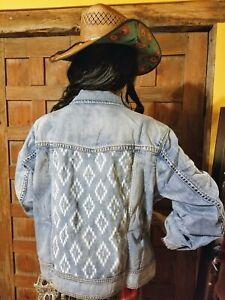 150-Ryan-Michael-Women-039-s-Indigo-Jean-Denim-Jacket-Aztec-Southwestern-Western-M