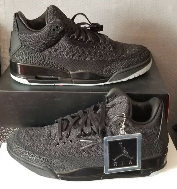 competitive price 2d7c0 faaf4 Nike Air Jordan 3 Retro Flyknit Black Anthracite Aq1005 001 Men's Size 9