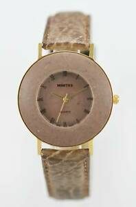 Montre Woman's Stainless Steel Grey Brown Leather Water Resistant Quartz Watch
