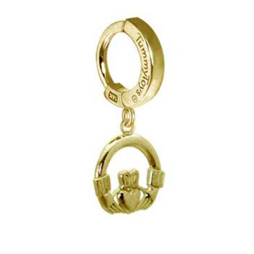 TummyToys 14K Yellow Gold Claddagh Charm Belly Ring