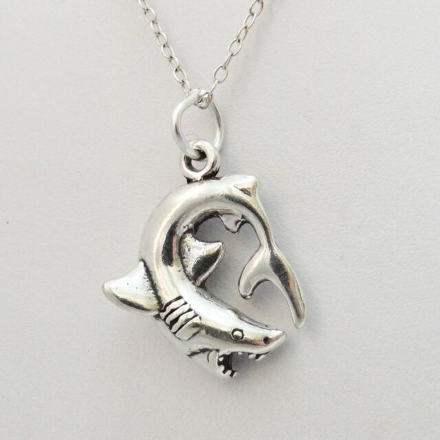 925 Sterling Silver Shark Pendant Ocean Sea Charm for Necklace