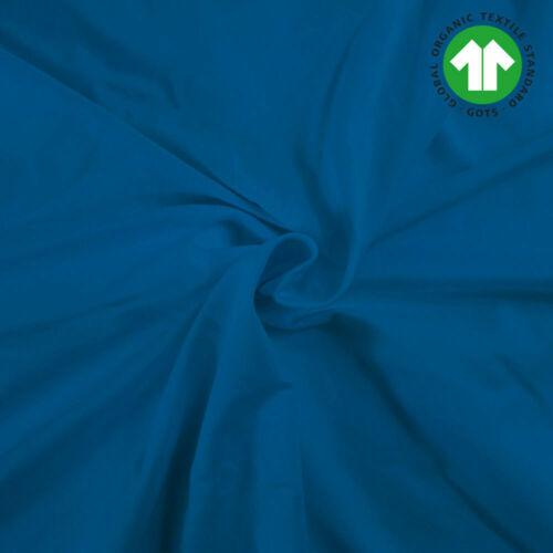 Bio-Bündchen Uni Blau 70cm im Schlauch GOTS kba Ökotex 100 Baumwolle Elasthan