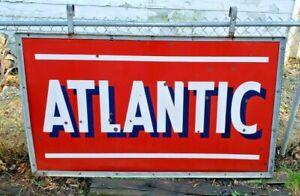 Vintage Porcelain Atlantic Gas Station Advertising Sign DSP Large Oil Pump Can