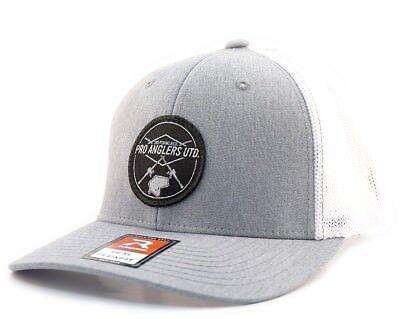 Pro Anglers United Custom Bass Fishing Hat White Grey Flexfit Richardson  110 | eBay
