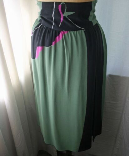 Vintage MICHAELE VOLLBRACHT High Waist Silk Skirt… - image 1