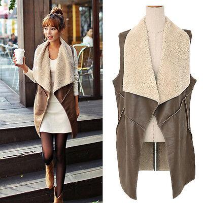 Women's Fashion Long Winter Faux Fur Vest Cream Outerwear Gilet Waistcoat Jacket