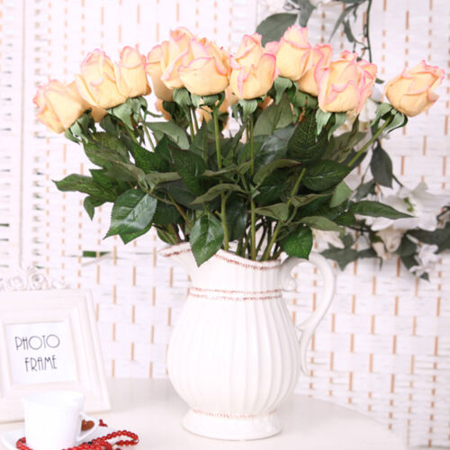 20//10Heads Real Touch Latex Rose Flower Bridal Wedding Bouquet Home Office Decor